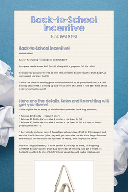Back-to-School Incentive