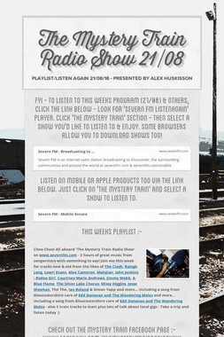 The Mystery Train Radio Show 21/08