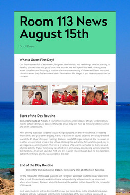 Room 113 News August 15th