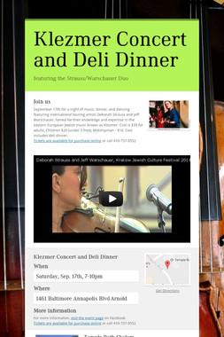 Klezmer Concert and Deli Dinner
