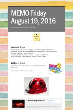 MEMO     Friday August 19, 2016