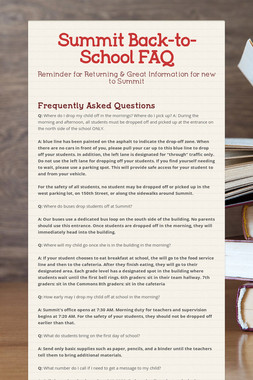 Summit Back-to-School FAQ