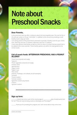 Note about Preschool Snacks