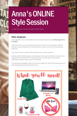 Anna's ONLINE Style Session