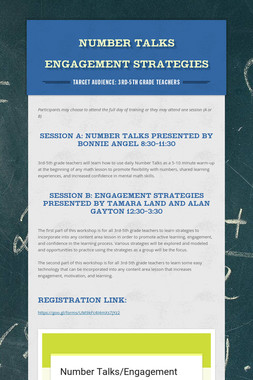 Number Talks  Engagement Strategies