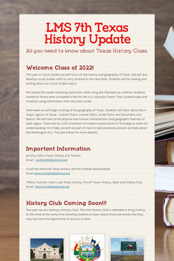 LMS 7th Texas History Update