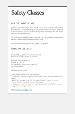 Safety Classes