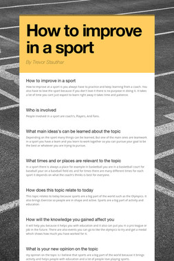 How to improve in a sport