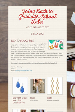 Going Back to Graduate School Sale!