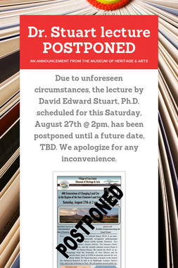 Dr. Stuart lecture POSTPONED