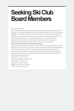Seeking Ski Club Board Members