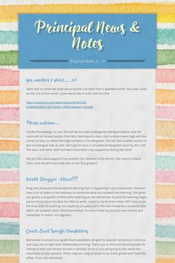 Principal News & Notes