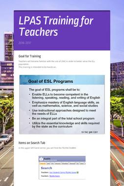 LPAS Training for Teachers