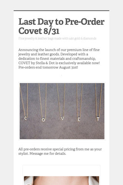 Last Day to Pre-Order Covet 8/31