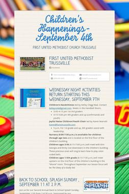 Children's Happenings-September 4th