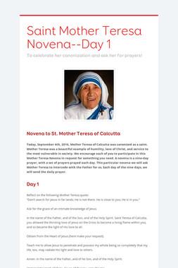 Saint Mother Teresa Novena--Day 1