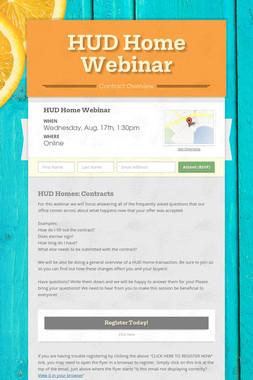 HUD Home Webinar