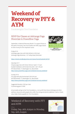 Weekend of Recovery w PFY & AYM