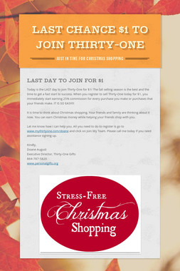 LAST CHANCE $1 TO JOIN THIRTY-ONE