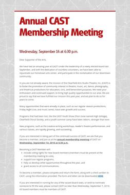 Annual CAST Membership Meeting
