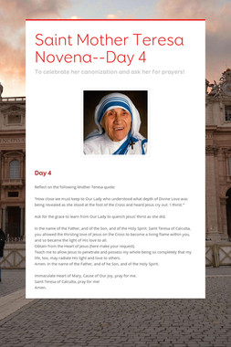 Saint Mother Teresa Novena--Day 4