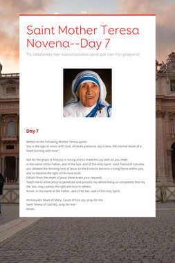 Saint Mother Teresa Novena--Day 7