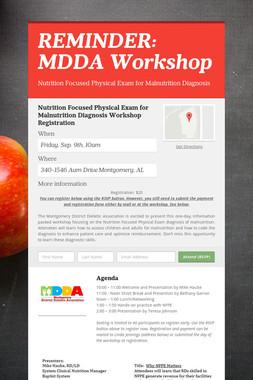 REMINDER: MDDA Workshop
