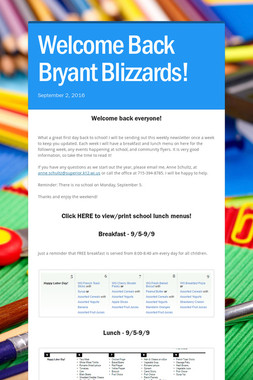 Welcome Back Bryant Blizzards!
