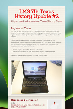 LMS 7th Texas History Update #2