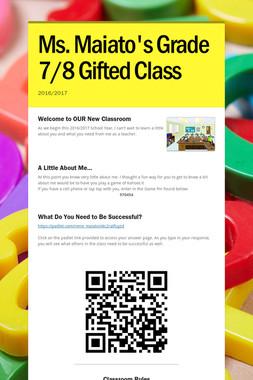 Ms. Maiato's Grade 7/8 Gifted Class