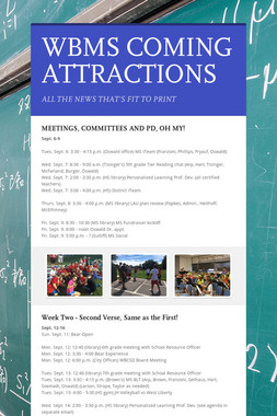 WBMS COMING ATTRACTIONS