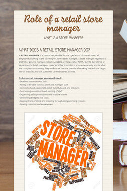 Role of a retail store manager
