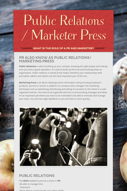 Public Relations / Marketer Press