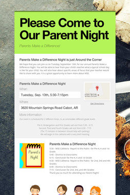 Please Come to Our Parent Night