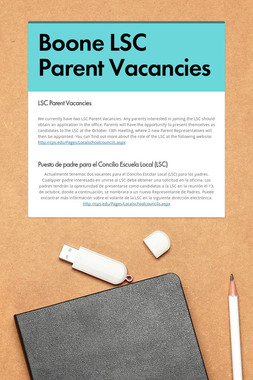 Boone LSC Parent Vacancies