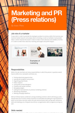 Marketing and PR (Press relations)