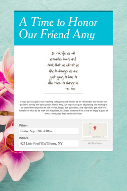 A Time to Honor Our Friend Amy