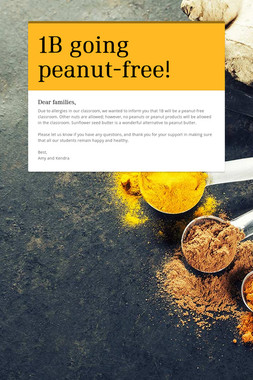 1B going peanut-free!