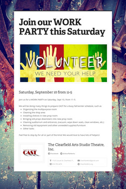Join our WORK PARTY this Saturday