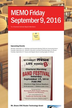 MEMO     Friday September  9, 2016