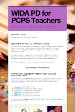 WIDA PD for PCPS Teachers