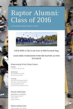 Raptor Alumni: Class of 2016