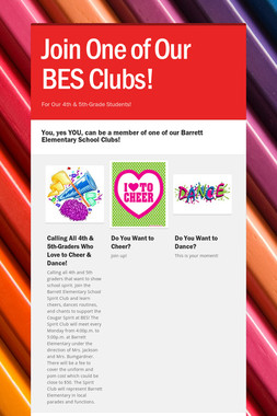 Join One of Our BES Clubs!