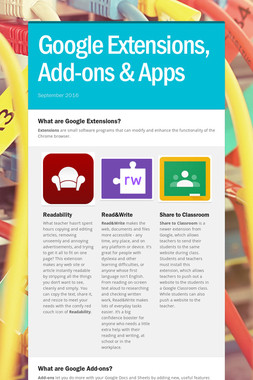 Google Extensions,  Add-ons & Apps
