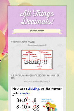 All Things Decimals!