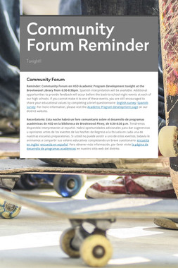 Community Forum Reminder