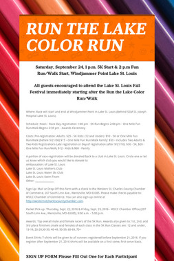 RUN THE LAKE COLOR RUN