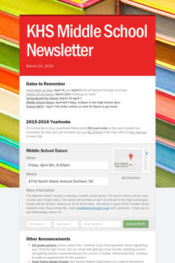 KHS Middle School Newsletter