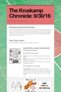 The Kruskamp Chronicle:  9/30/16