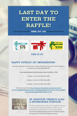 Last Day to Enter the Raffle!